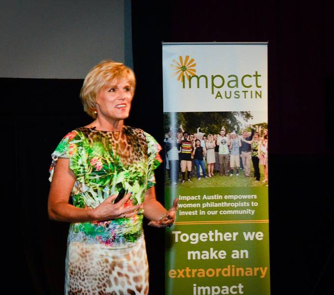 Caroline Adams Miller speaking at Impact Austin event