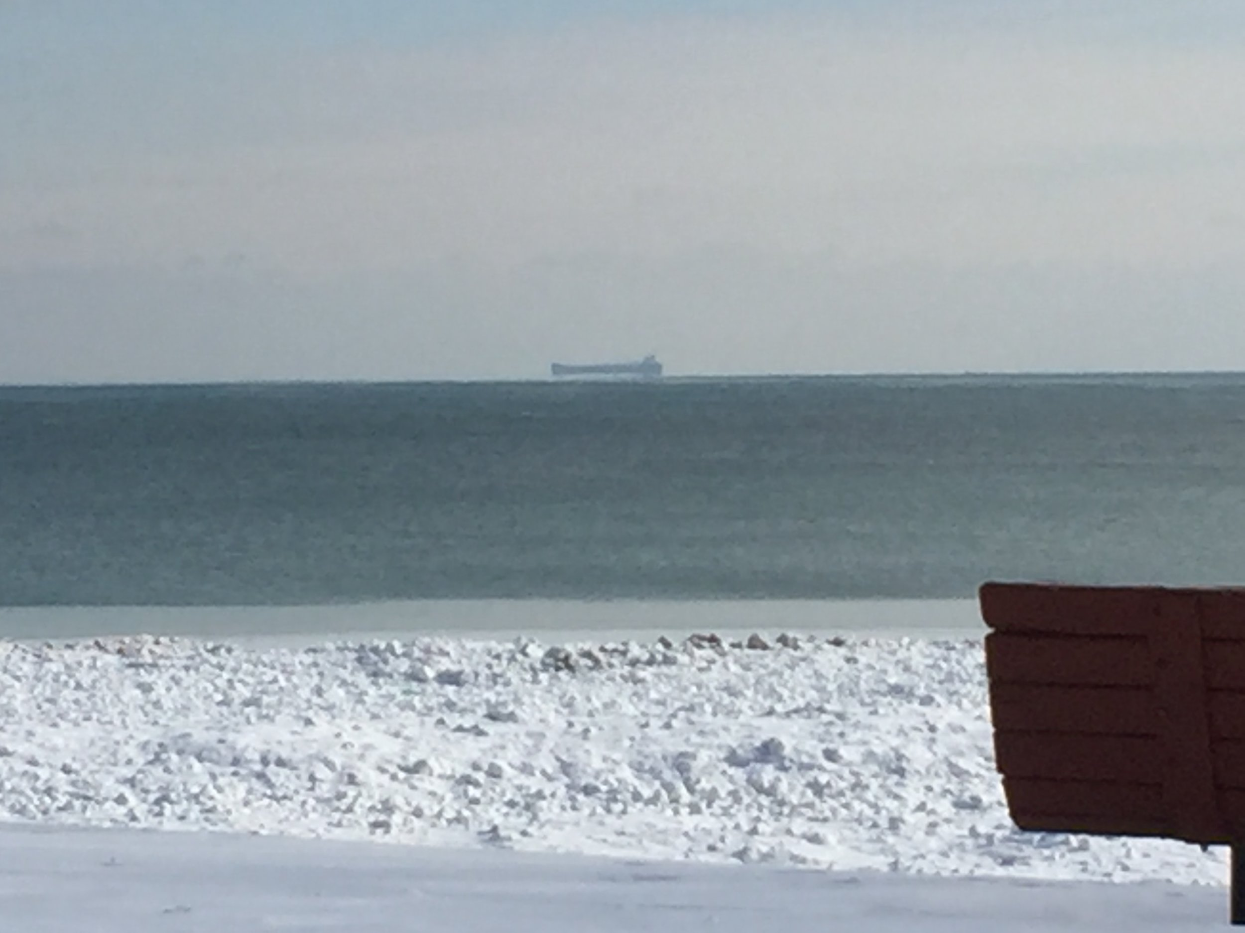 A large lake freighter on the open waters of Lake Michigan, February 2018