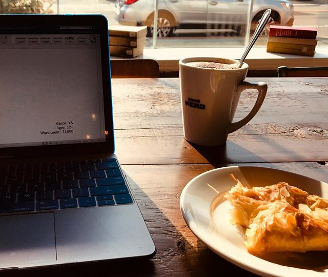 "When a manuscript isn't working on the tenth revision, some people give up. Others get an almond croissant, cappuccino, and look that manuscript in the eye and say, ""You will not break me,"" all the while ignoring the looks and whispers. Apparently people get pretty uncomfortable when a man talks to his computer in public.  #authorsofinstagram #amwriting #amrevising #writersofinstagram #writer #coffee #almondcroissant #nothingsadderthanhashtaggingalmondcroissant #revision #growthmindset"