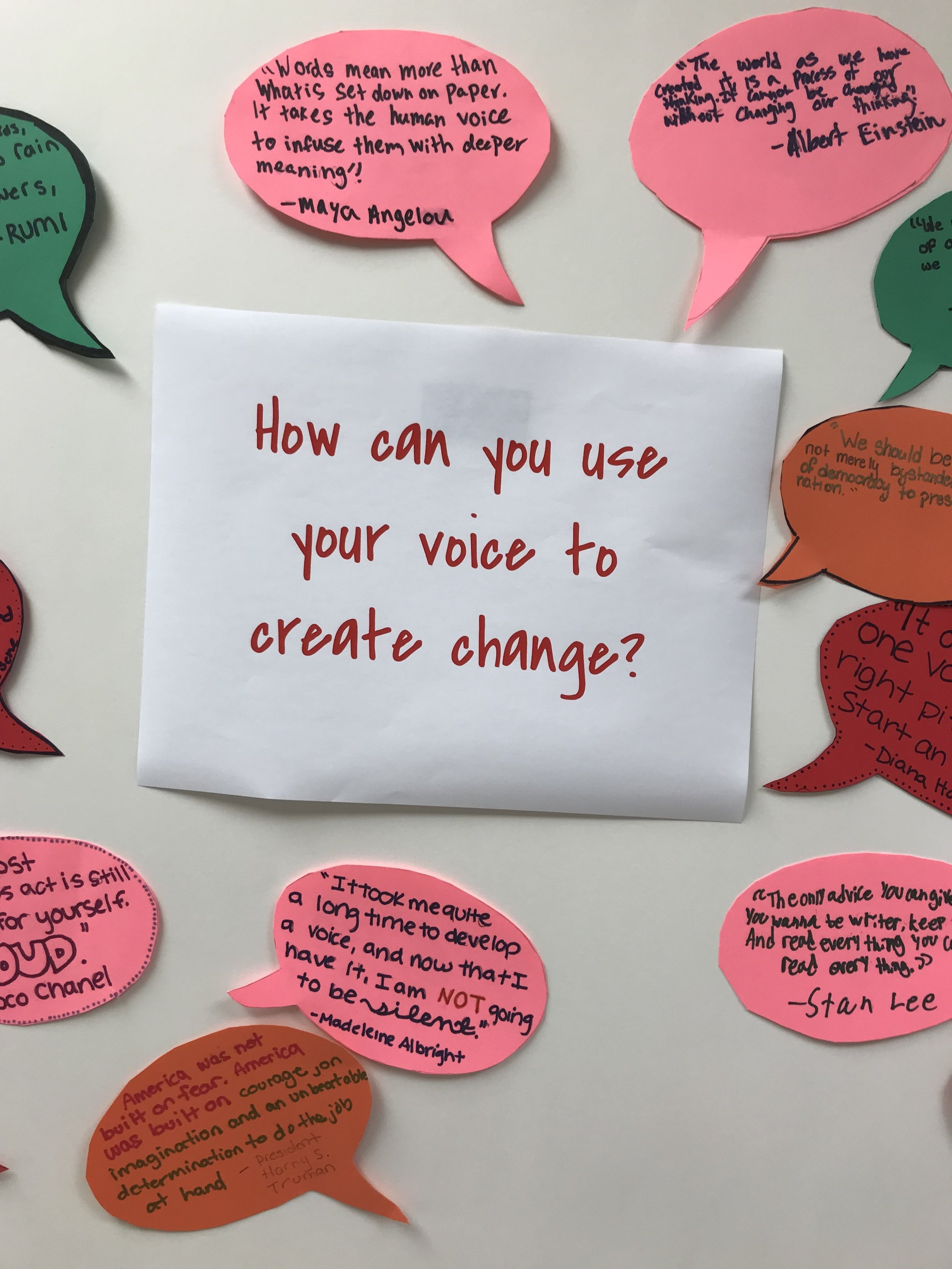 To set up our essential questions, we had students find quotes and write them in speech bubbles. Inspired by a workshop from the Connecticut Writing Project.