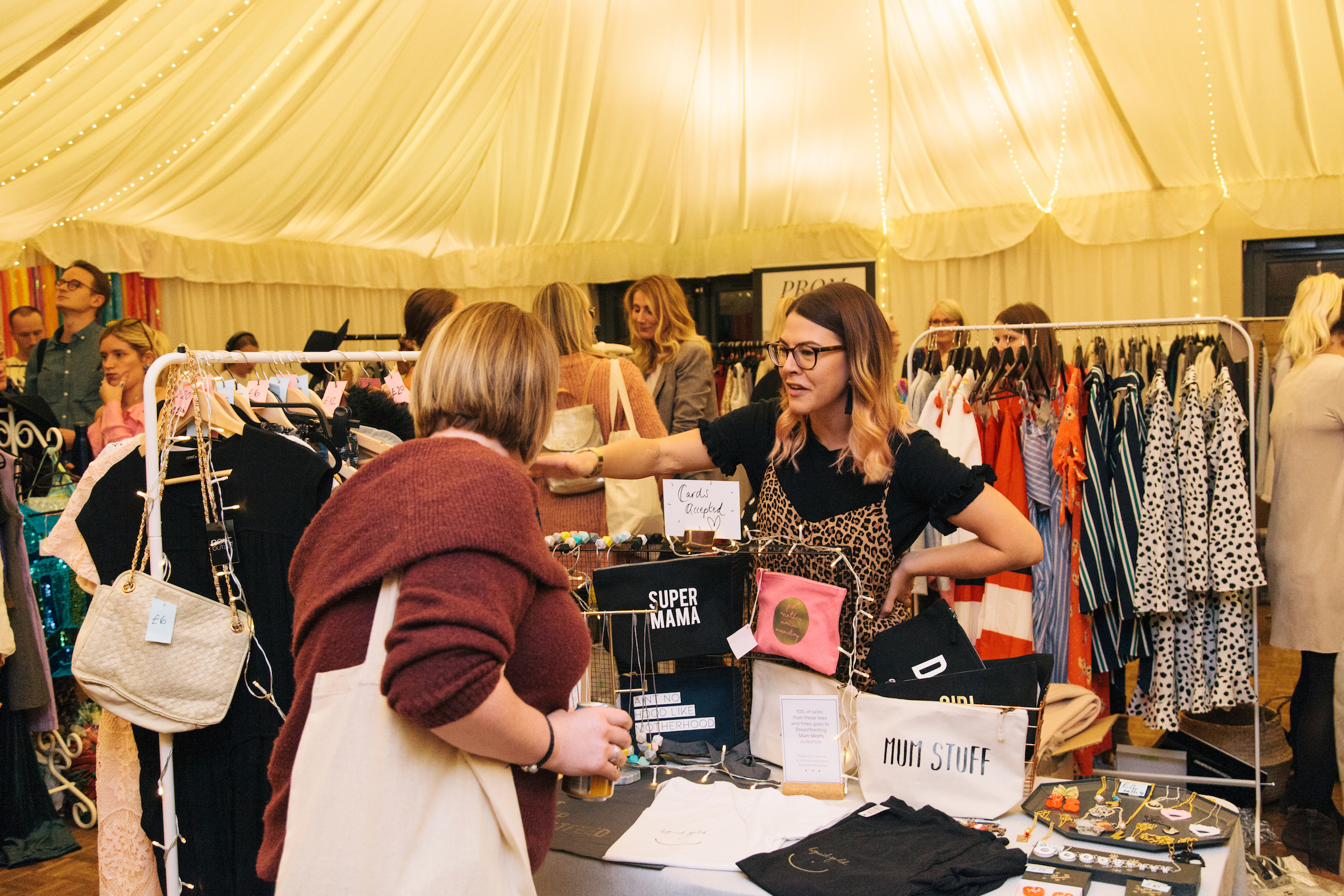 Sophie at The Night Feed with her preloved rail and shop stock, photo by    Emily Gray Photography