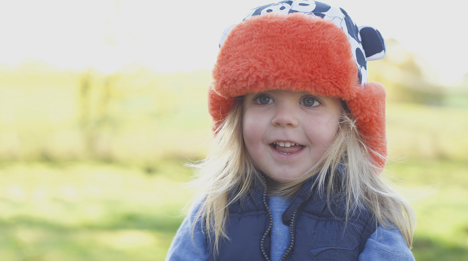 Little Hotdog Watson Arctic Cub Kids Hat in print Panda Pop Orange Desktop.jpg