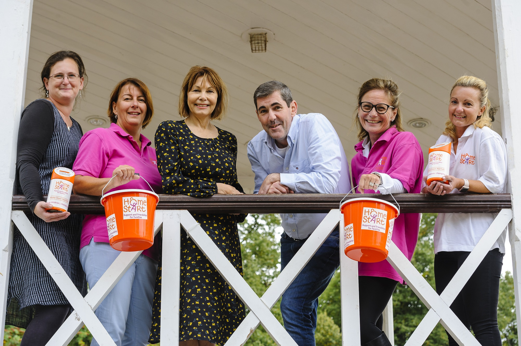 Left to right: Dr Sarah Taigal - a lady who has received Home-Start support in the past, Chrissie Jackson - patron of the charity, Ray McCune and Fiona Hall, Tanya - volunteer, Helen Brown - fundraising manager.