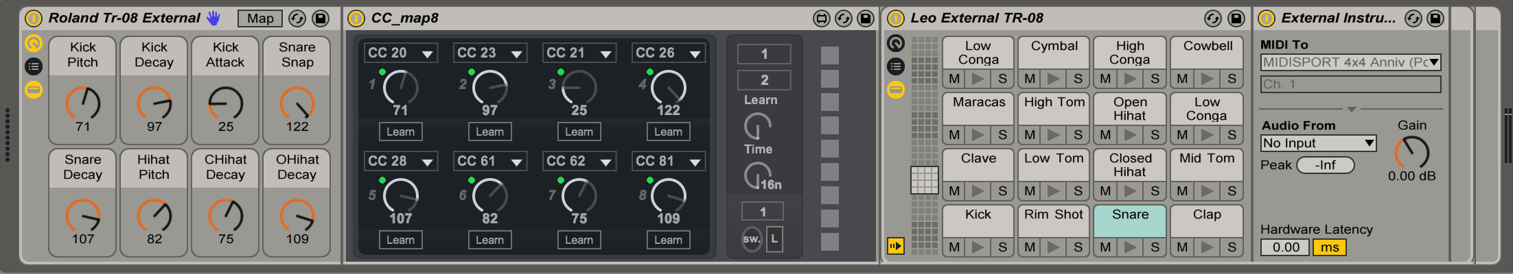 I made this external instrument preset for the Roland TR-08 so I could use the TR-08 with the Push. It's pretty handy. You will have to direct the 'MIDI to' for each pad but everything else is labelled. I also used a max4live patch called CC map8 you will need to install.     Here is the M4L device.   The M4L patch means you can use the Push / macros to tune some of the parts of the TR-08.     Here is the download for my TR-08 preset.   Enjoy.