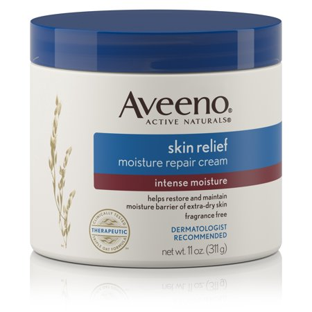 Aveeno - Aveeno's skin relief moisture repair cream is another gem.Now, I normally save my Aveeno products for after my nighttime shower and use my Nivea products after my daytime showers, but this would definitely be an excellent all day moisturizer simply because it lasts.Both Nivea and Aveeno provide a thick and moisture enhanced formula that is so beneficial to those with drier skin, but, if I had to choose, I would definitely choose Aveeno products because they really work for dry skin and eczema sufferers.