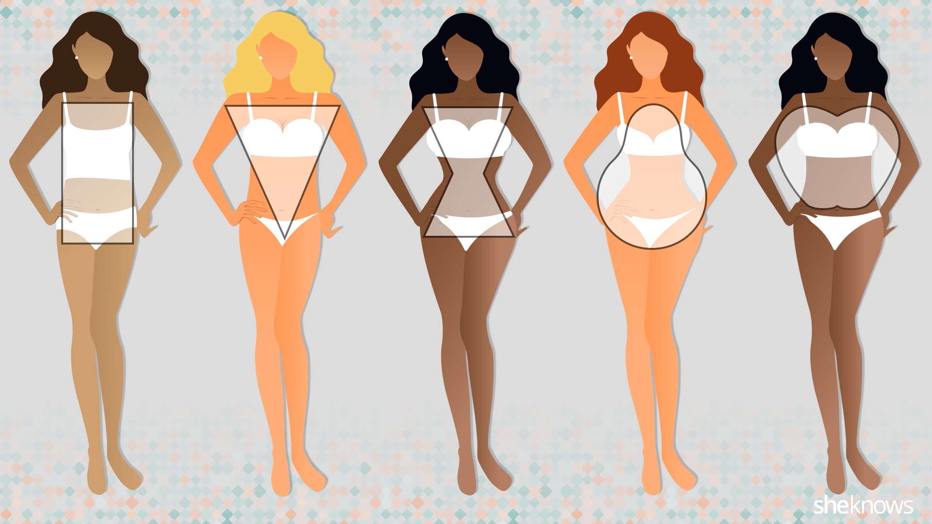 This is a shortened version of a body type chart. These are the five basics and, of course, there are many more variations of these core groups of body types.  I am honestly a mixture of 1, 2, & 4. The fact that I have no hips makes me a dead ringer for the squared proportions in number 1. My broad shoulders place me happily into number 2. And the fact that I have buns and thighs are my only saving grace for leveling myself out and leaning me more towards a number 4.  Now, in fully understanding what my body looks like, I can pretty much see what limits I can push my body to.  But, another important component here is understanding where your meals show the most. My food legitimately goes to my thighs and my stomach areas. So, I am sure to keep cardio a constant in my workouts in order to maintain. This is another important aspect of understanding your body type (knowing where you food shows most). Just saying…  It's all about knowing your body.