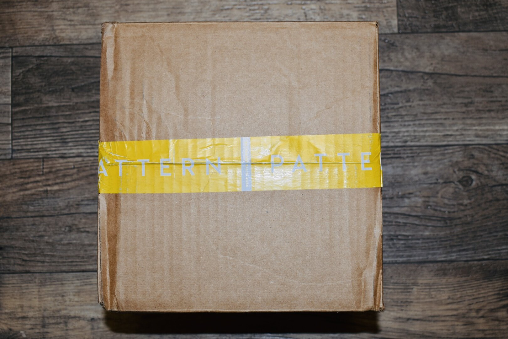 "This is the box that my products came in. It's pretty standard with ""Pattern"" written across yellow tape.  Inside, there was protective packaging so that the products didn't have the free rein to swish around and break or spill."