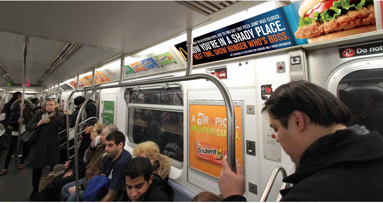 Subway car ad