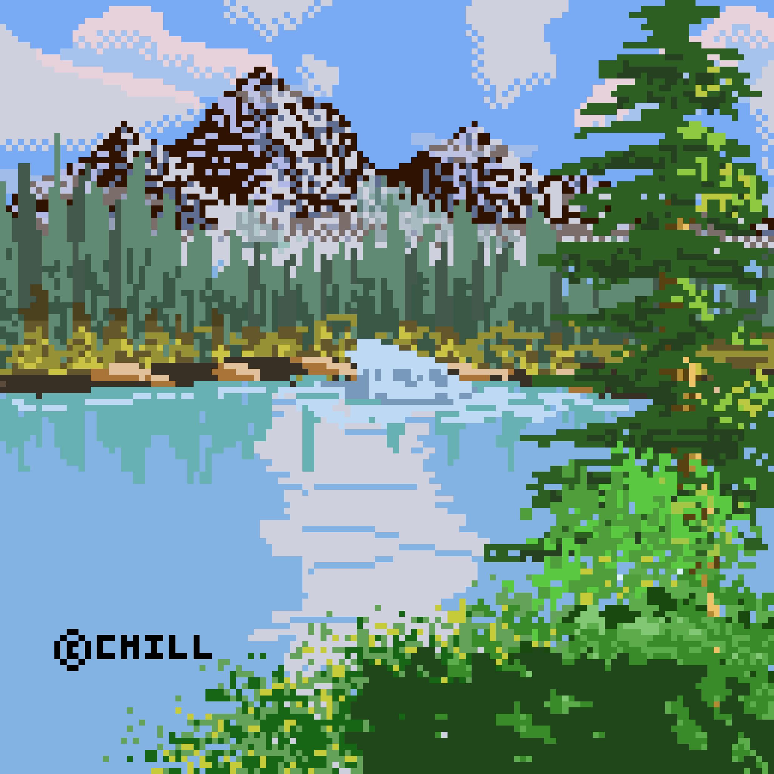 Mountain Waterfall Pixel Art.png