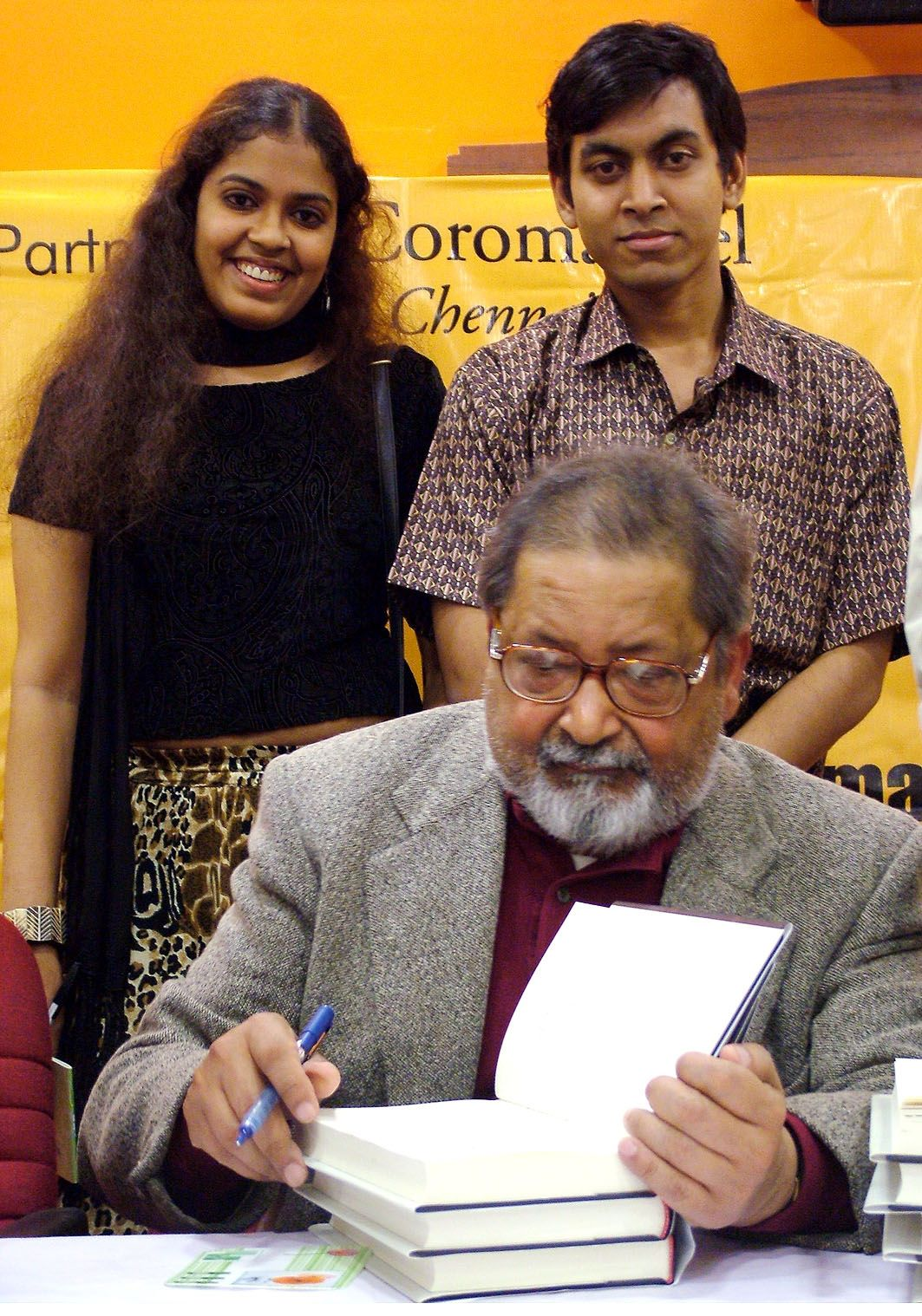 LANDMARK. 2004. - With British Writer and Nobel Laureate V.S. Naipaul during his launch of 'MAGIC SEEDS.'KEYWORDS: V.S Naipaul, Nish Amarnath, Magic Seeds, Book launches, Nobel Laureates, Nobel Prize in Literature.