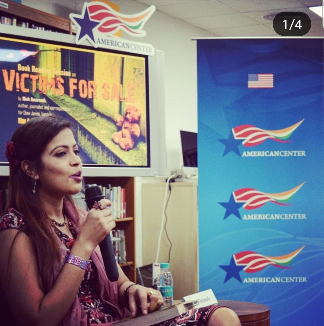 U.S. EMBASSY OF INDIA. 2018 - A candid shot from a VICTIMS FOR SALE book-reading and discussion attended by book-lovers, littérateurs and American Center patrons of the U.S. Embassy in India (New Delhi) and the Office of the U.S. Consulate General in Hyderabad.
