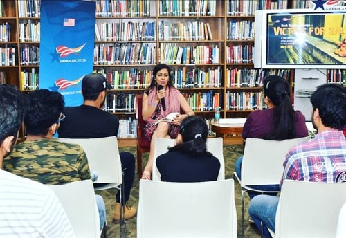 AMERICAN CENTER, NEW DELHI. 2018 - U.S. EMBASSY- INDIA AND OFFICE OF THE US CONSULATE GENERAL, HYDERABAD - BOOK READING.Invited by the U.S. Embassy in India for a book-reading ofVICTIMS FOR SALE during World Free Press Month. VICTIMS FOR SALE grew out of my experiences as a journalist. Here, I am seen addressing a diverse gathering of book-lovers, journalists, media practitioners and a host of patrons from the U.S. Embassy (New Delhi) as well as the office of the U.S. Consulate General in Hyderabad, taking them through the journey of VICTIMS FOR SALE's Sandy Raman.