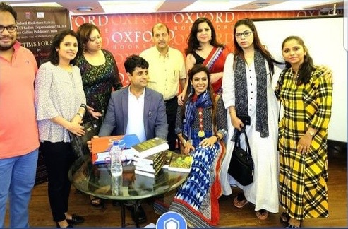 OXFORD BOOKSTORES, CALCUTTA (KOLKATA). 2018 - During the Kolkata launch of my paperbacks bestseller, VICTIMS FOR SALE. As seen here with Saira Shah Halim, members of the Young FICCI Ladies Organization, publishers and other book-lovers.