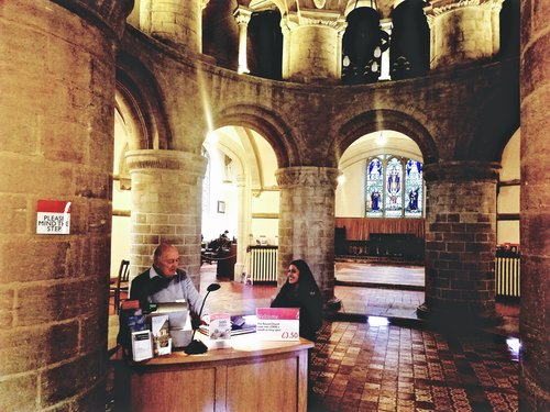 CAMBRIDGE, UK. LATE 2017. - An interview with an official at the historic Round Church, or the Church of the Holy Sepulchre, in Cambridge as part of a book research expedition for my upcoming novel, TWIN FLAME.KEYWORDS: Twin Flame, Field trip, book research, Cambridge, Cambridge University, Round Church, novel, Nish Amarnath, ethnography, author life.