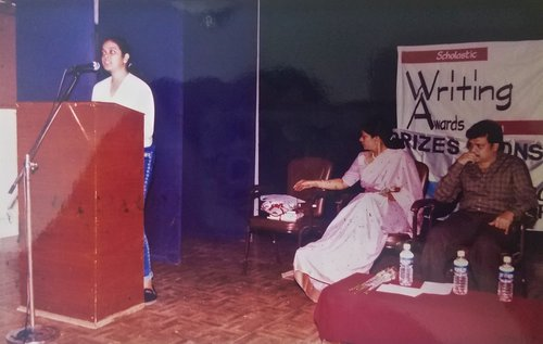 Scholastics Writing Awards. 2002 - Speaking at the Scholastics Writing Awards after my story, Beyond Beauty was selected as best fiction entry.