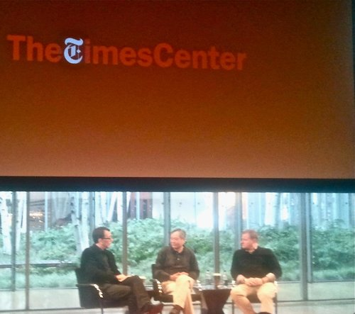 THE NEW YORK TIMES, NEW YORK. 2013 - At a panel with LIFE OF PI's Director Ang Lee and Screenwriter David Magee.KEYWORDS: Life of Pi, Ang Lee, David Magee, New York Times, Nish Amarnath, Nischinta Amarnath, media, film.