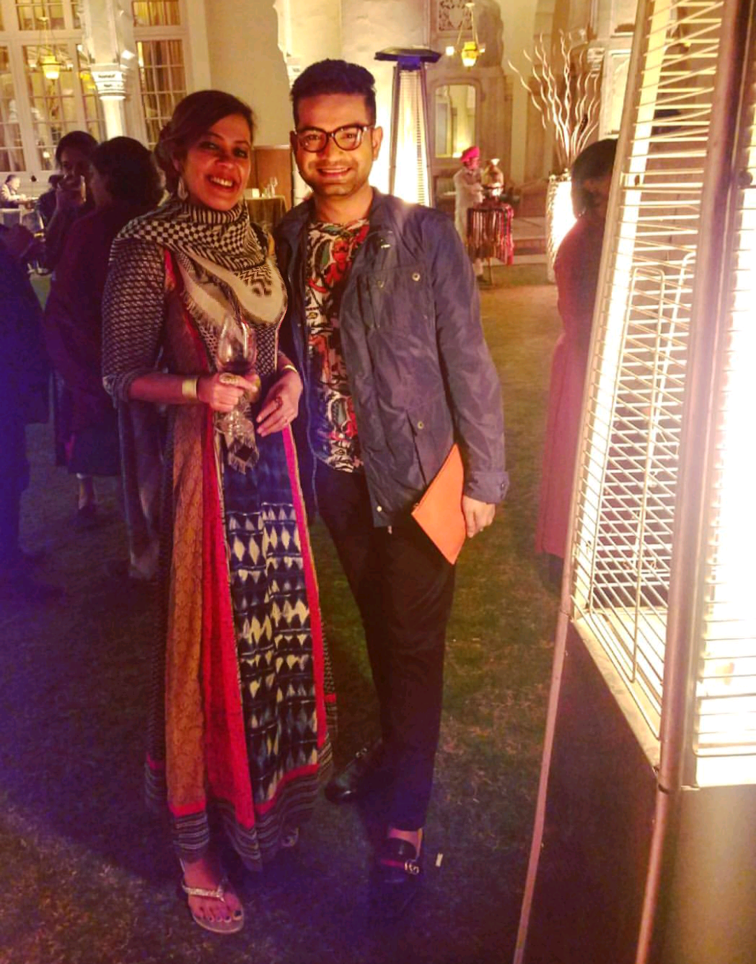 JAIPUR LITERATURE FESTIVAL.RAMBAGH PALACE, JAIPUR, INDIA. 2018 - With fashion designer and entrepreneur Pranay Baidya Atelier at a private event organized by HarperCollins.KEYWORDS: Jaipur Lit Fest, Jaipur Literature Festival, ZEE JLF, HarperCollins, Pranay Baidya, Nish Amarnath, Nischinta Amarnath, Victims For Sale.