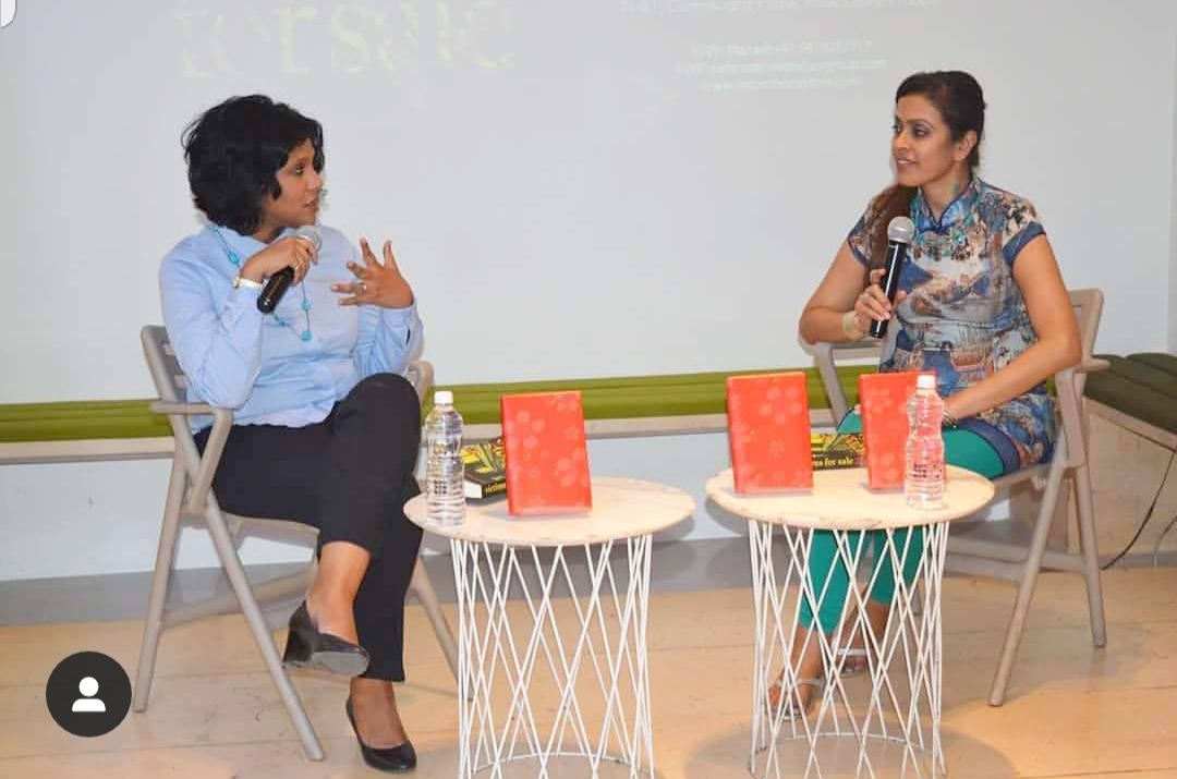 In conversation with NDTV. DELHI. 2018 - In conversation with author and NDTV anchor Sunetra Choudhury at Delhi's Oxford Bookstores (Connaught Place) about the representation of honor crime and sex trafficking in Victims For Sale.KEYWORDS: Oxford Bookstores, Connaught Place, Delhi, Sunetra Choudhury, NDTV, NDTV interviews, bookstores, author interviews, Nish Amarnath, Nischinta Amarnath, Victims For Sale.