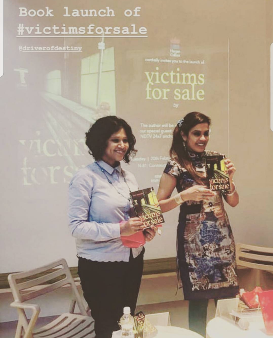 VICTIMS FOR SALE LAUNCHES IN DELHI. 2018 - A photo-op, smiling for the press after the unveiling of Victims For Sale. As seen here with NDTV anchor, author and journalist Sunetra Choudhury.KEYWORDS: Oxford Bookstores, Connaught Place, Delhi, Sunetra Choudhury, NDTV, book launch, Nish Amarnath, Nischinta Amarnath, Victims For Sale.