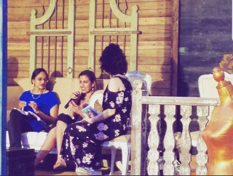 VGP GOLDEN BEACH RESORT. 2018 - A candid shot of me answering some questions after a reading of VICTIMS FOR SALE at Chennai's Spoken Wave Festival. As seen here with fellow authors Arya Rajam and Vibha Batra.KEYWORDS: Author panels, literary festivals, book reading, VGP Golden Beach Resort, Nish Amarnath, Nischinta Amarnath, Victims For Sale.