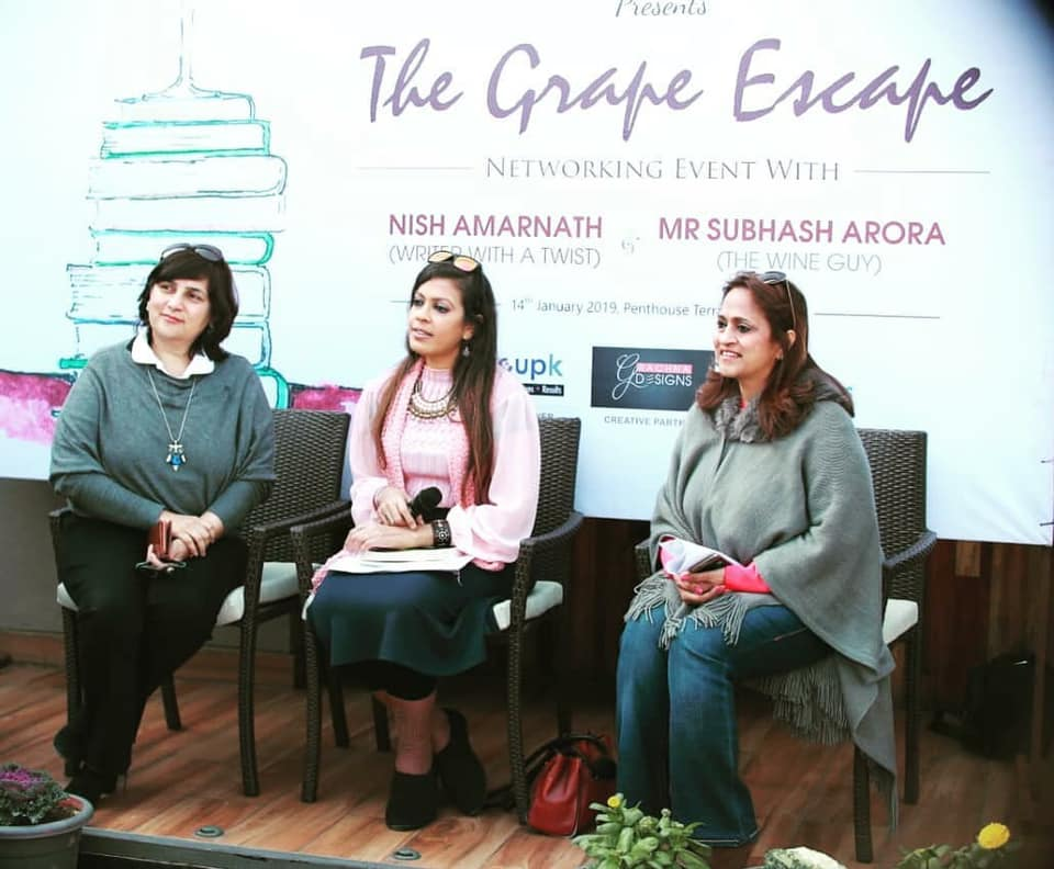 FICCI Ladies Organization. Ludhiana. Jan. 2019. - On an author panel at The Penthouse in Ludhiana, marking the inauguration of a book club under the patronage of FICCI Ladies Organization, or FICCI-FLO, an affiliate of the Federation of Indian Chambers of Commerce and Industry. As seen here with FICCI-FLO Ludhiana Chair Reena Aggarwal and Habitat Architects Creative Director Monika Zafar Choudhary.KEYWORDS: Ludhiana, Punjab, author panel, Nish Amarnath, Nischinta Amarnath, book clubs, Victims For Sale.