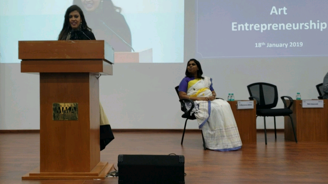 Keynote on Art Entrepreneurship - MMA, an affiliate of AIMA (All India Management, Delhi). 2019 - A candid shot taken during my keynote address on art entrepreneurship during an industry conference hosted by the Madras Management Association, an affiliate of the All-India Management Association, Delhi. Among other things, my speech touches upon the role of authors, novelists and singers as entrepreneurs.KEYWORDS: Art entrepreneurship, art entrepreneurs, authorpreneur, bestselling authors, author speaker, artistes, industry conference, Nish Amarnath, Nischinta Amarnath