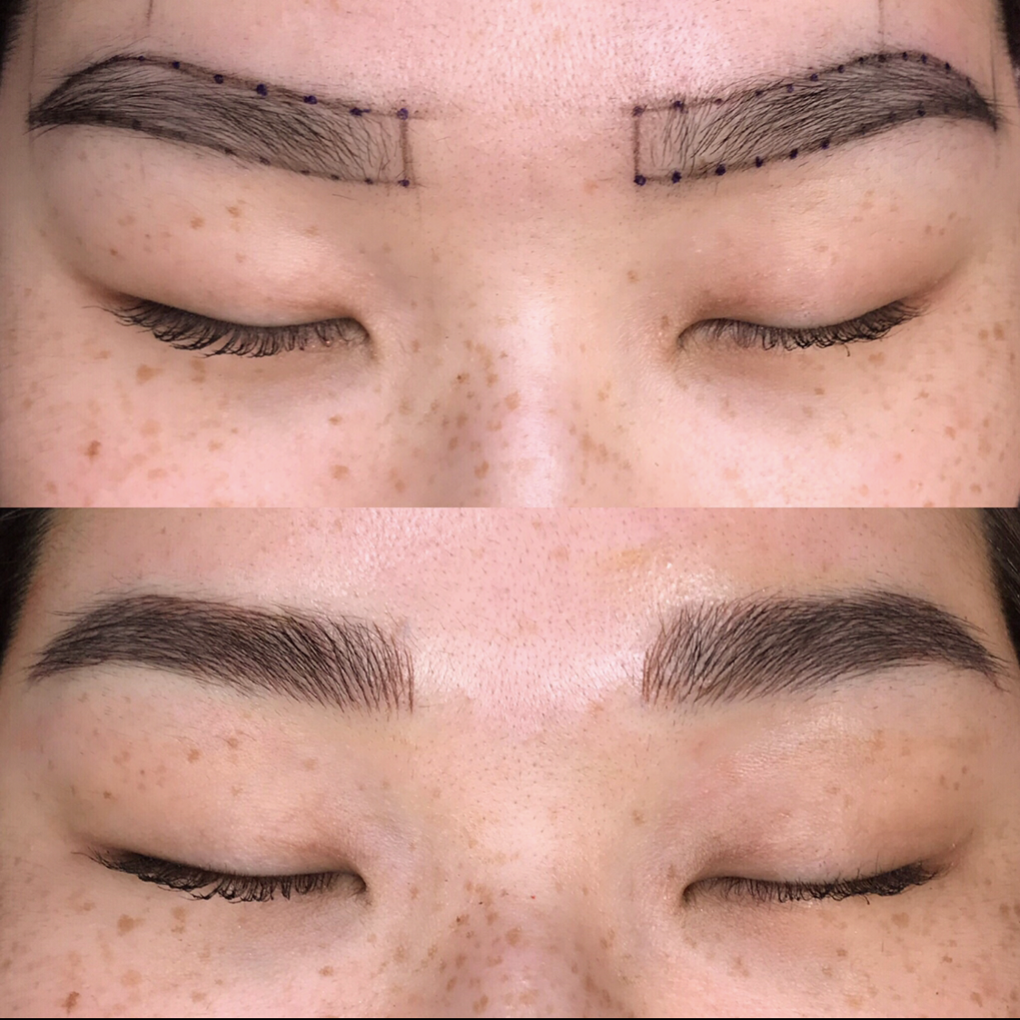 Initial Microblading Session - Your entire Microblading process should take approximately 2-3 hours.Step 1: We take photos of your bare browsStep 2: Then we sanitize the brow area with an alcohol padStep 3: Your specialist will then take a photo using a brow symmetry app to measure the browsStep 4: Then your desired brow shape will be mapped onto your brows using an eyebrow pencilStep 5: You and your specialist will come to an agreement on your new perfect shape!Step 6: Photos will be taken and then your brow area will be pre-numbed (you can opt out of this step)Step 7: Wait time for the numbing cream is 30 minutes. At this time, your specialist will go over the Aftercare instructionsStep 8: The Microblading procedure begins and it will take approximately 1 hour for completionStep 9: Done! Your photo will be taken of your new brows and you are out the door!