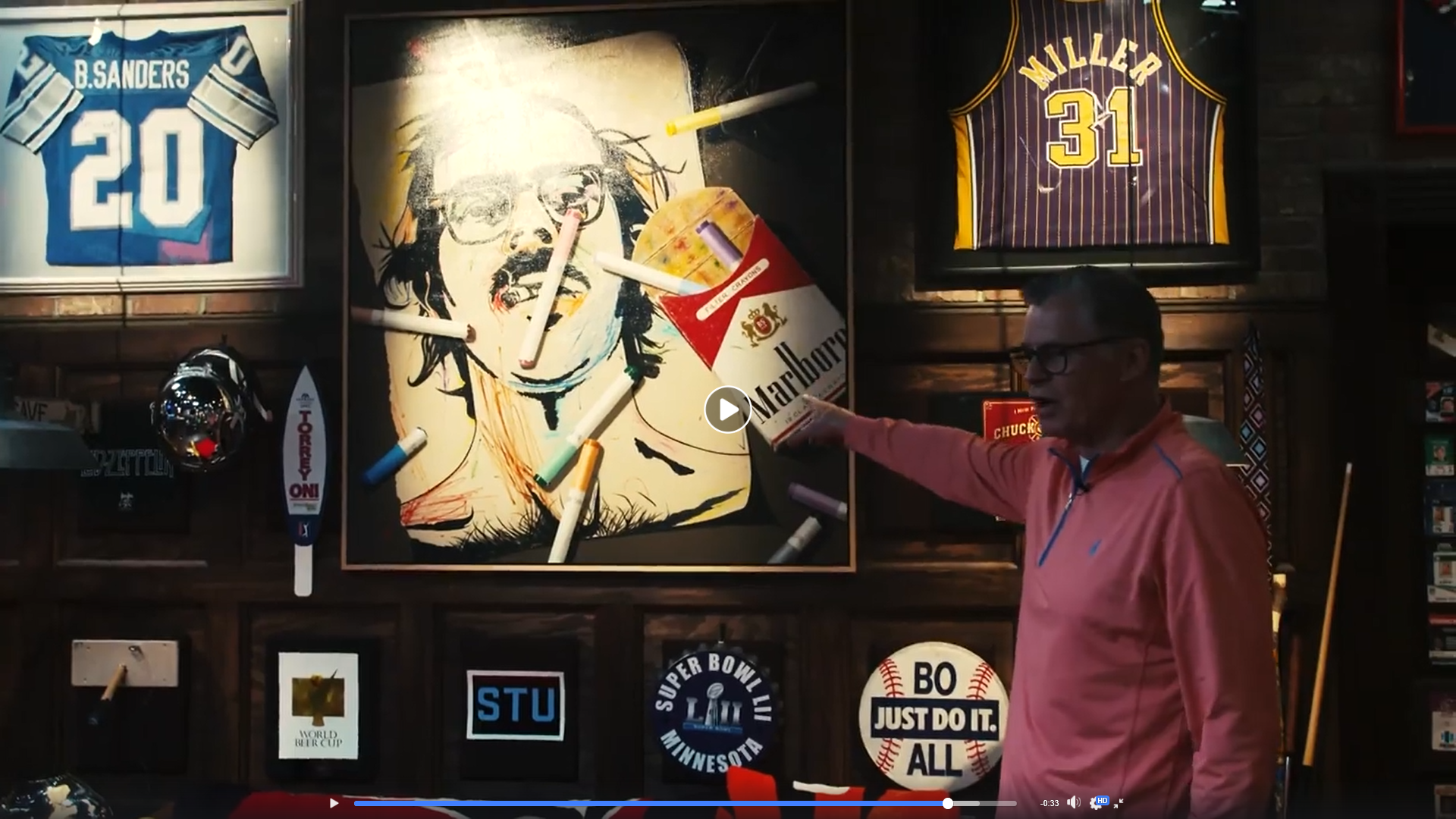 STeele painting featured in dan patrick's man cave - Check out Sportscaster Dan Patrick's Man Cave Tour, including his recently-acquired Ben Steele painting.