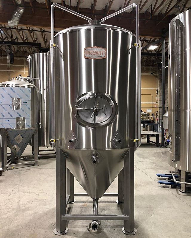 """18 bbl jacketed Fermenter on its way to Cloudburst Brewing in Seattle today. Custom angle cone, 3"""" dump and 6"""" dry hop port."""