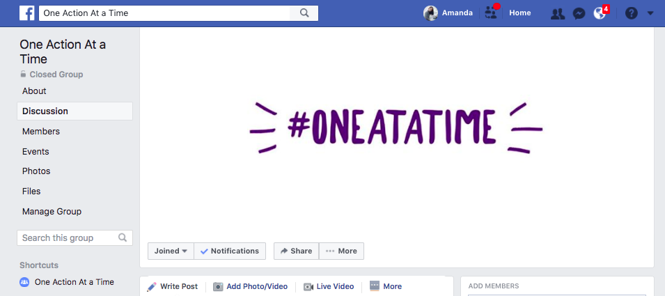 https://www.facebook.com/groups/oneactionatatime/