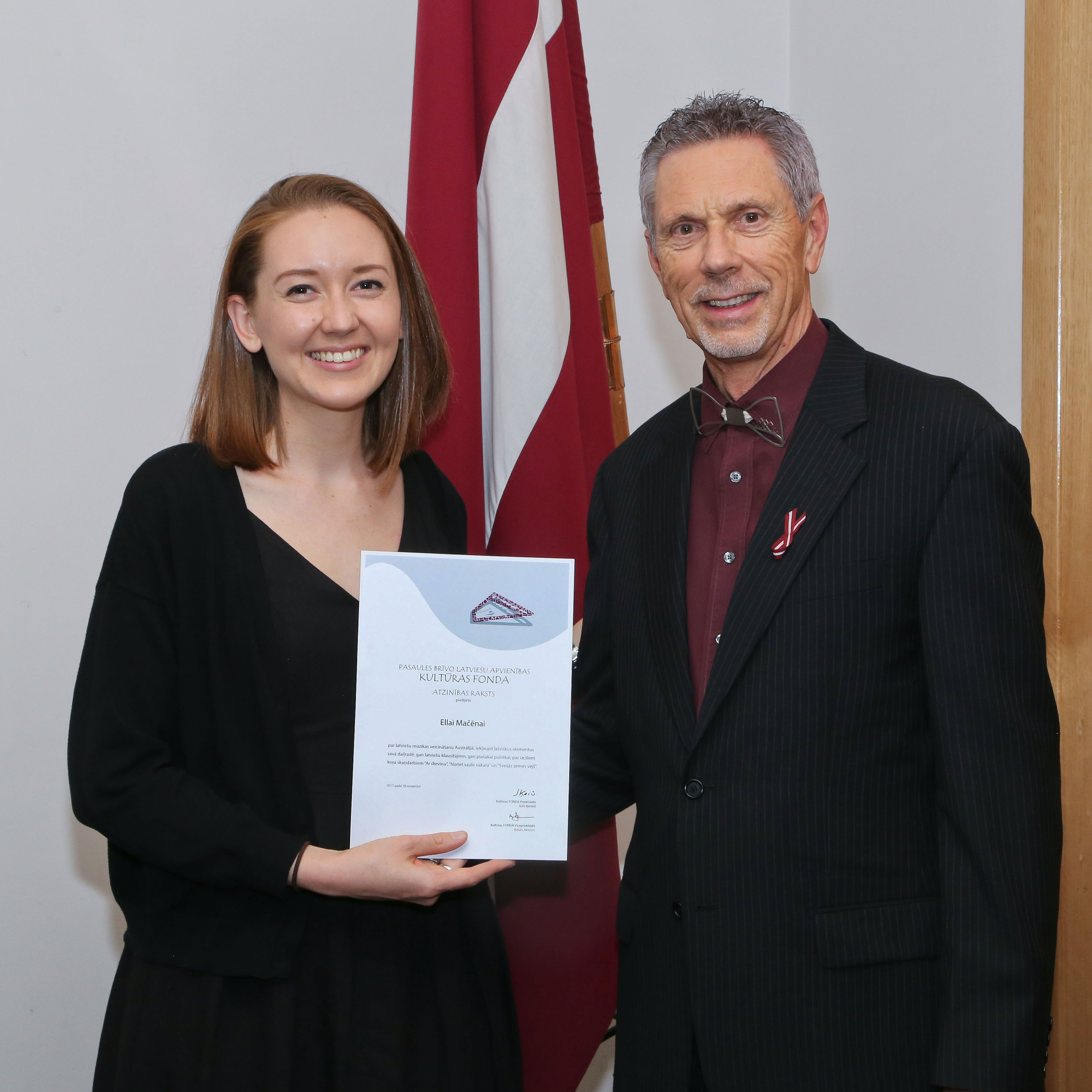 Receiving my award from the World Federation of Free Latvians in 2017