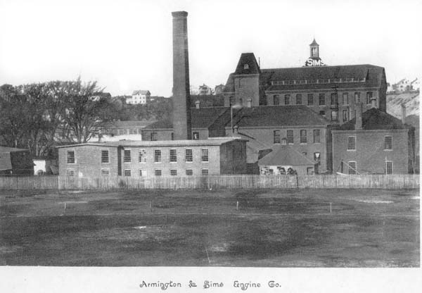 Armington & Sims Engine Co., c. 1890.Armington & Sims produced high-speed piston valve steam engines known for very accurate speed control, even with large load changes. Thomas Edison used these engines for his Pearl Street power plant in Manhattan because the excellent speed control would not let the lights flicker when the load changed.Source:  New England Wireless & Steam Museum