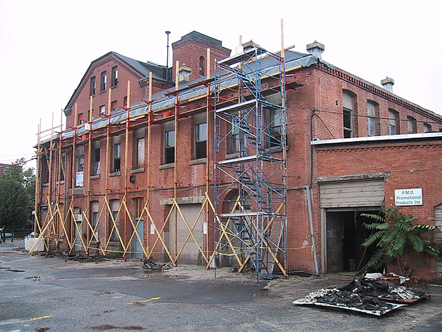 Exterior masonry is being restored and new roof and drain systems being installed.September 2002. Source: Phillip C Marshall.