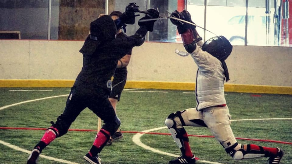 Aaron lands a thrust at Rocky Mountain Krieg 2016, a colorado hema tournament