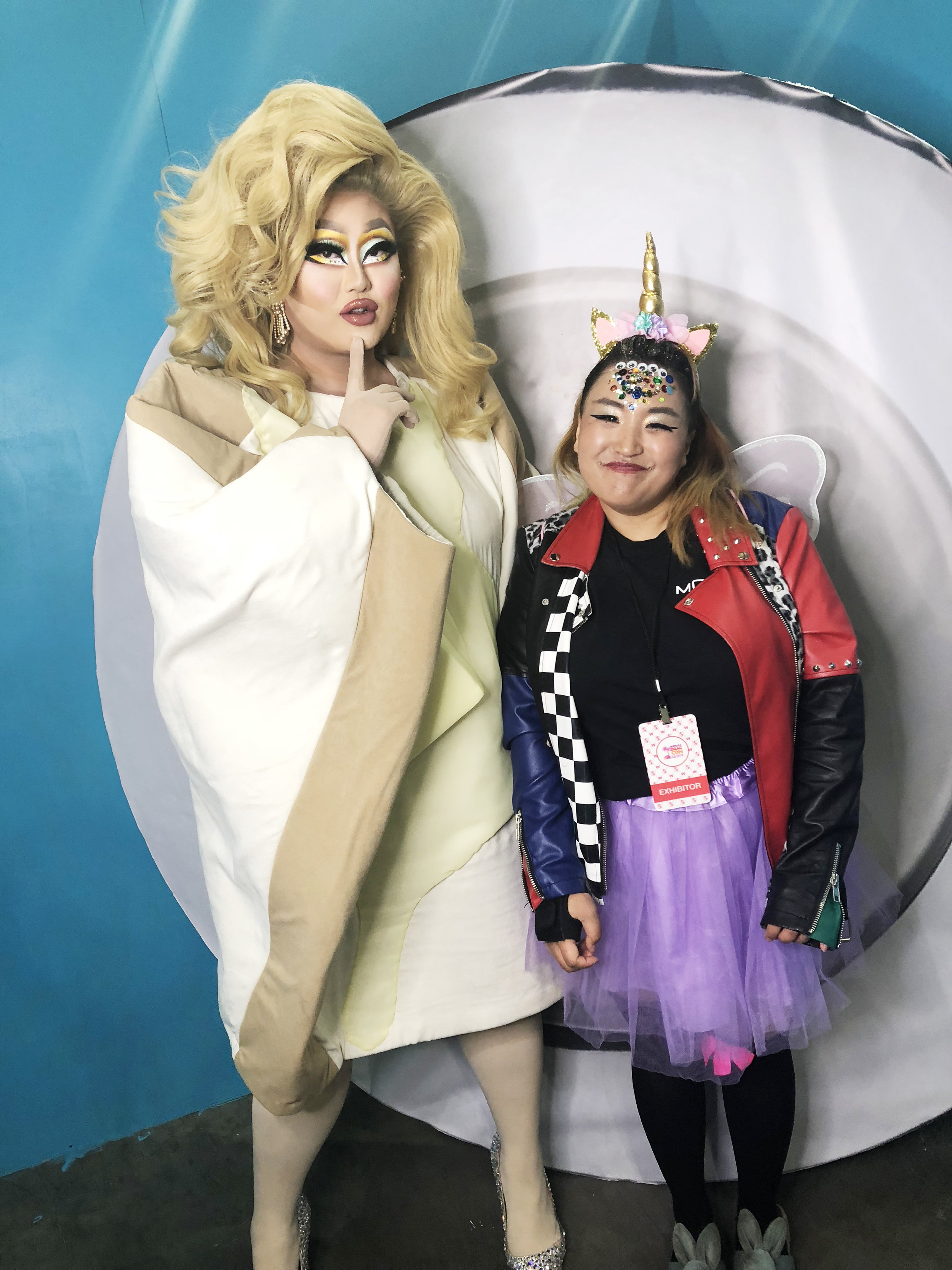 """Luna, Graphic Designer, at MOIRA, met her Drag Queen hero Kim Chi. """"Meeting her was AMAZING! She is so pretty and nice. Her makeup was flawless. The reason why I love Kim Chi is because I feel that she was on of the first Drag Queens on the show to have super unique and creative looks. She's quiet but funny at the same time so she is someone I feel like I relate to."""""""
