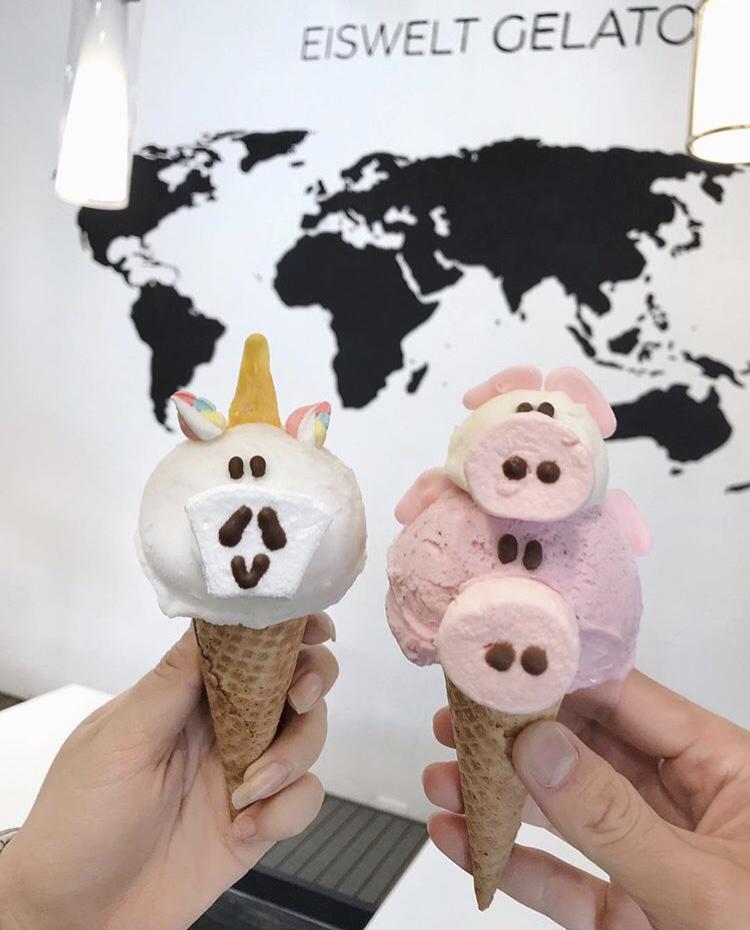 Durian Gelato in a Unicorn Cone; Strawberry Sorbetto(bottom) and Coconut Gelato(top) in a Pig w/ Piglet Cone