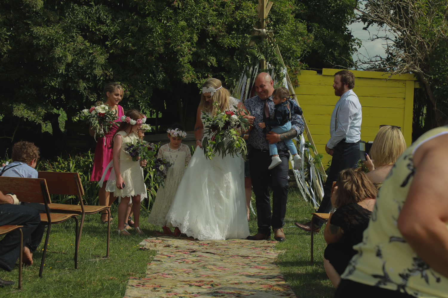 bride and groom leaving ceremony