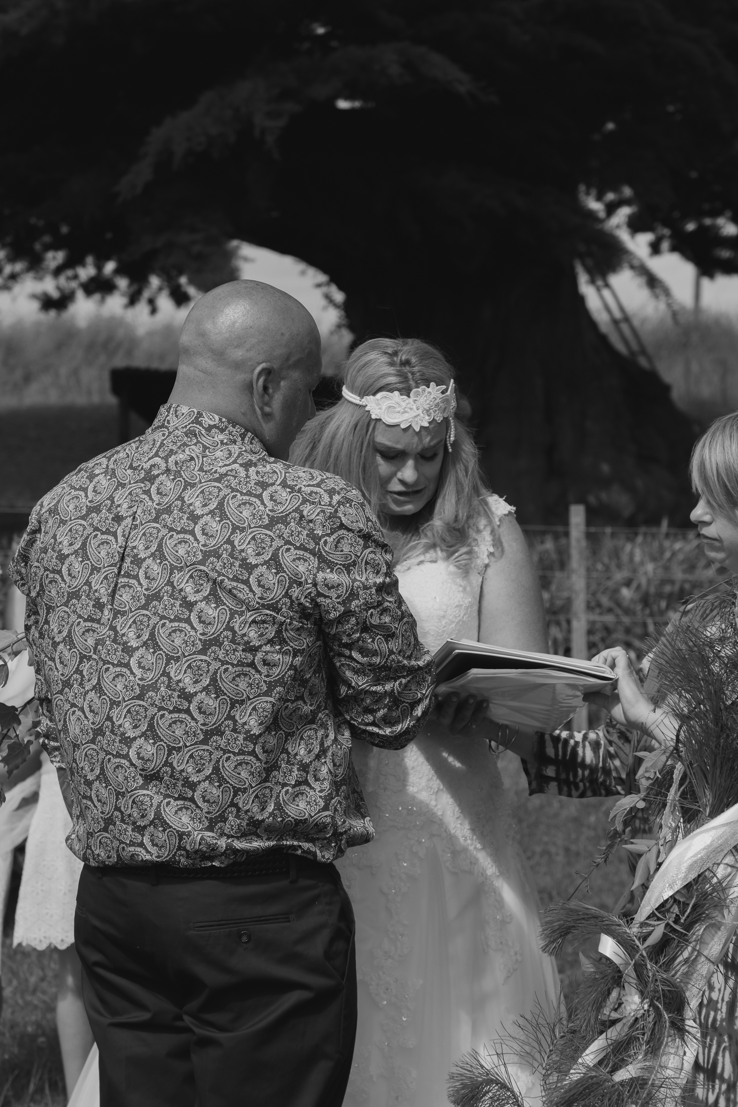 bride crying in ceremony