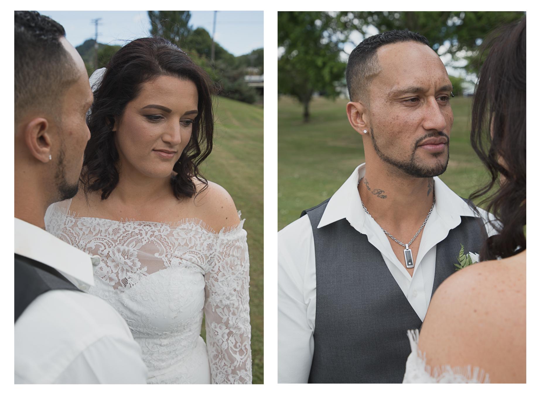 groom admiring his bride
