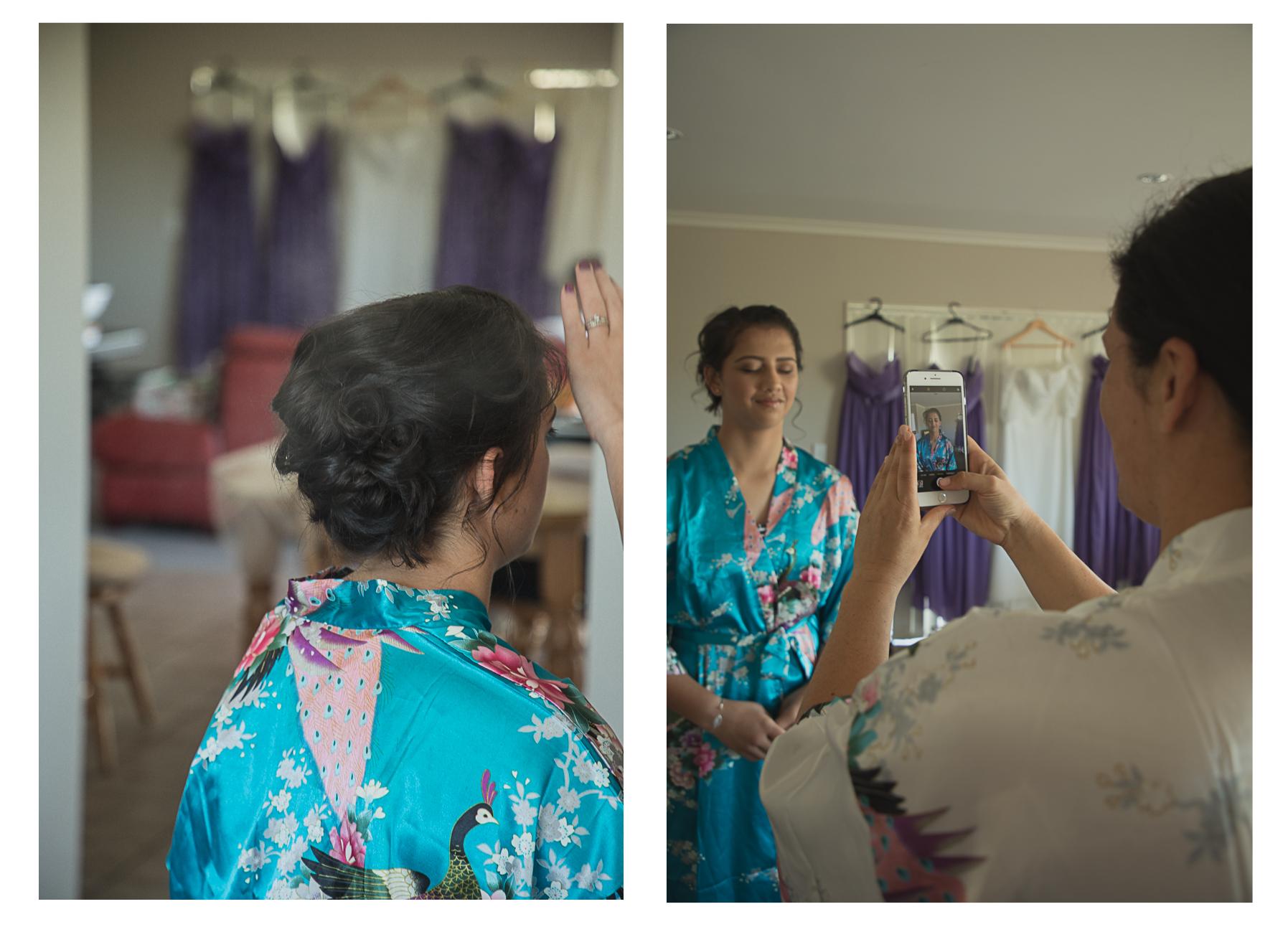 bridesmaid having hair done and photos