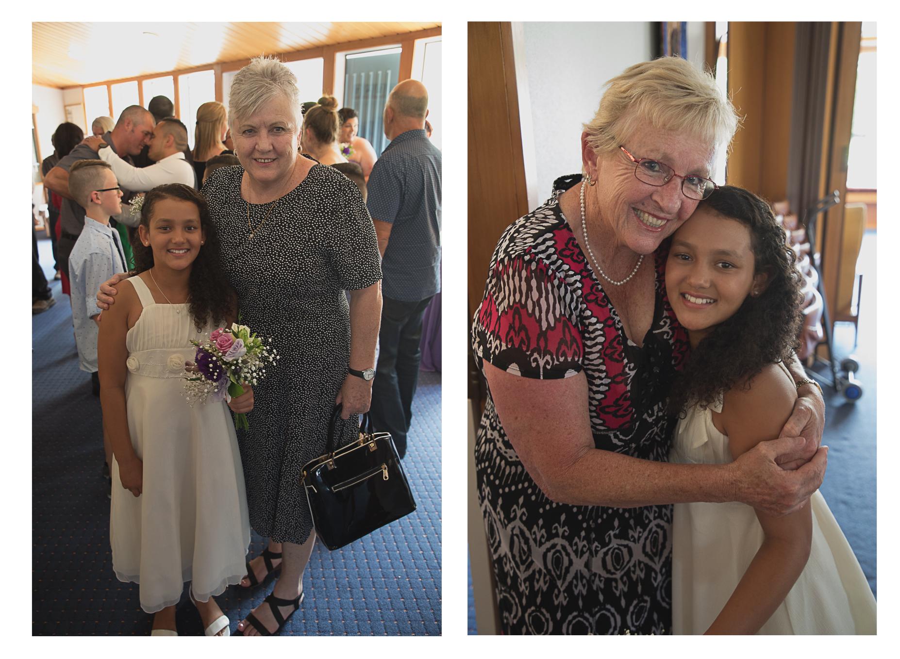 aunties with children wedding reception