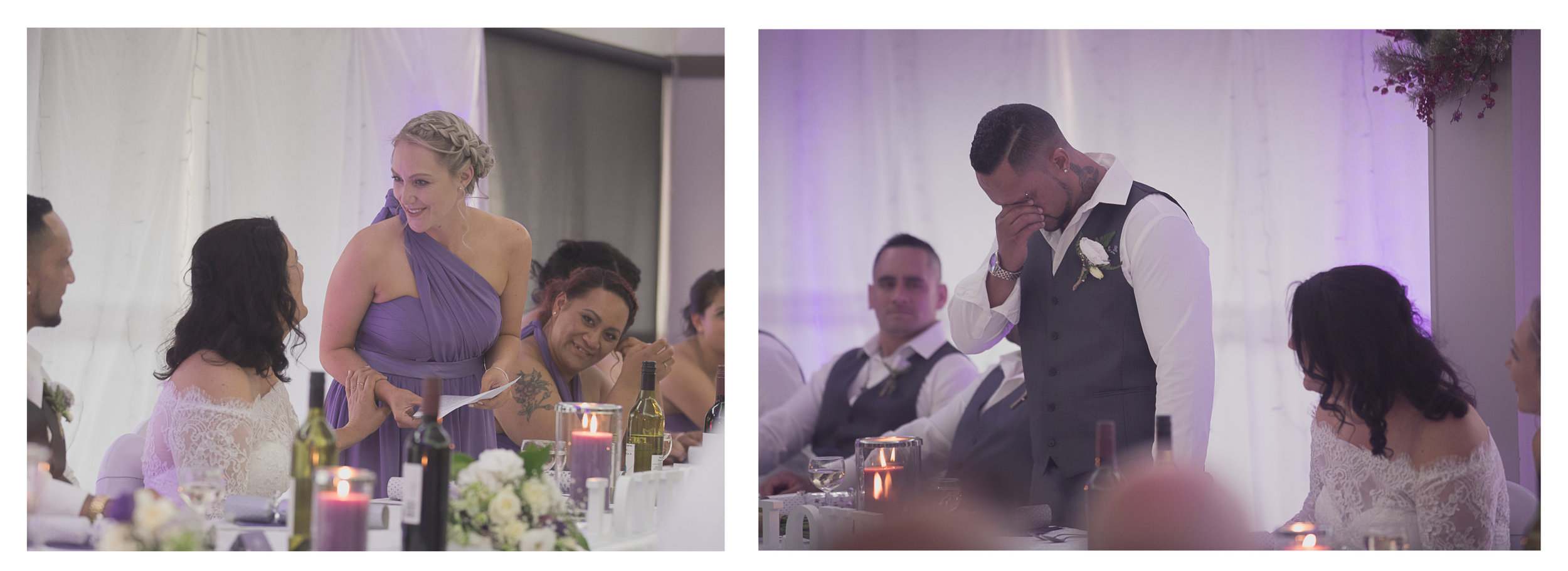 wedding reception laughter during speeches of maid of honour