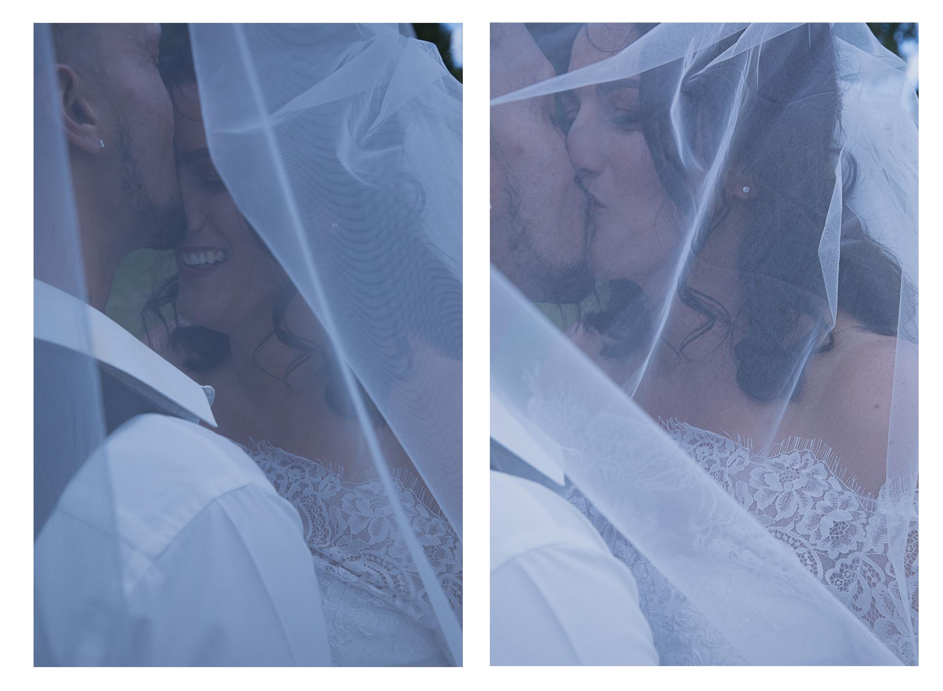 bride and groom under veil photo