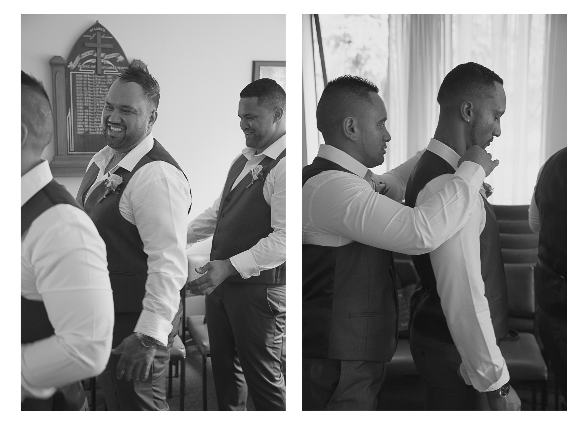 groom and groomsmen getting ready for wedding