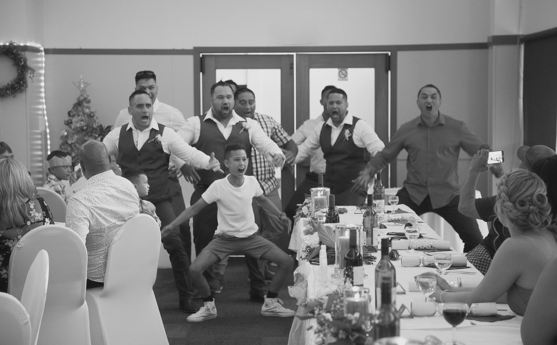 traditional maori haka during wedding reception