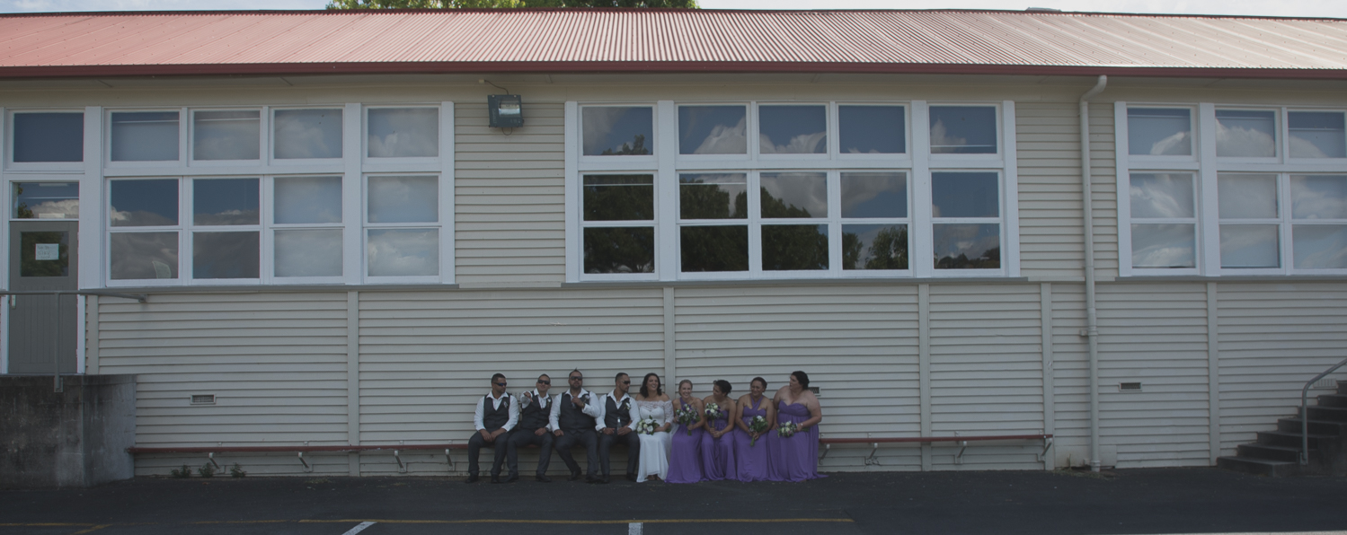 bridal party outside old high school