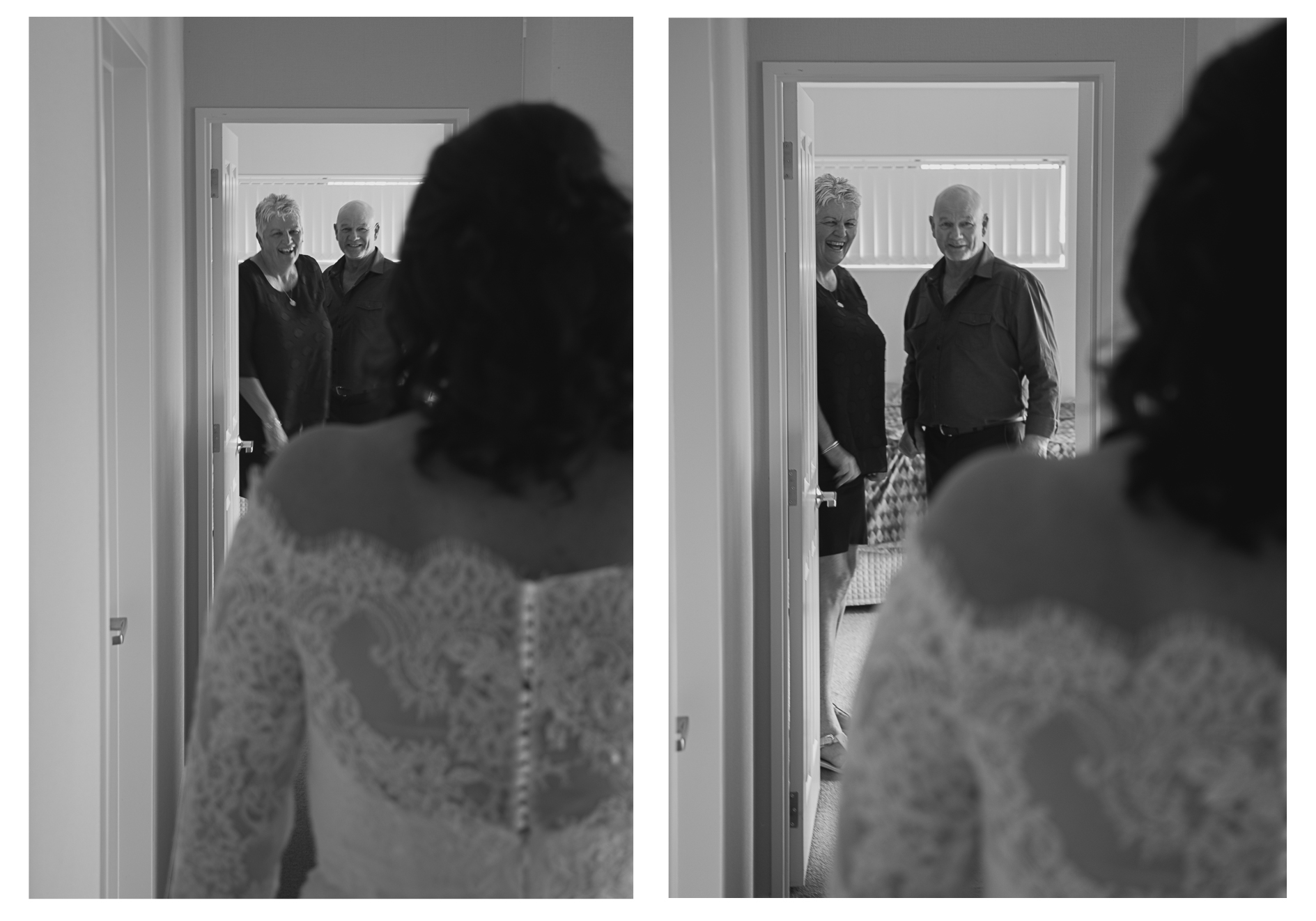 bride in wedding dress father and mother looking on