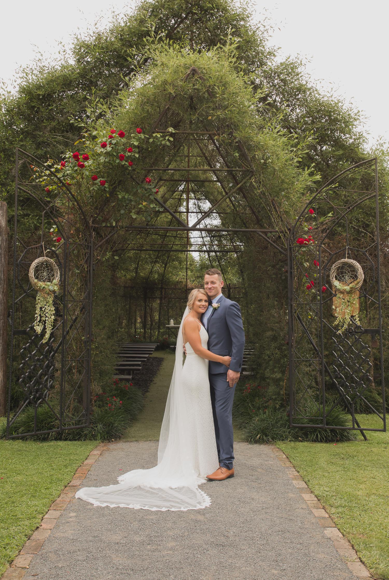 bride and groom at Ohaupo Tree Church wedding