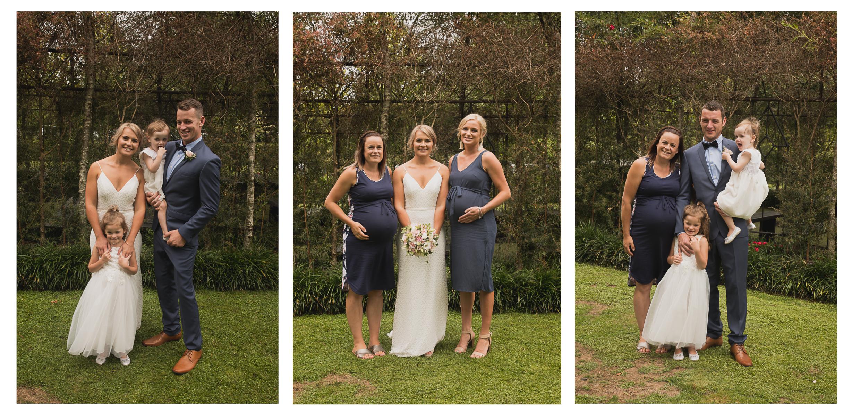 family photos on wedding day