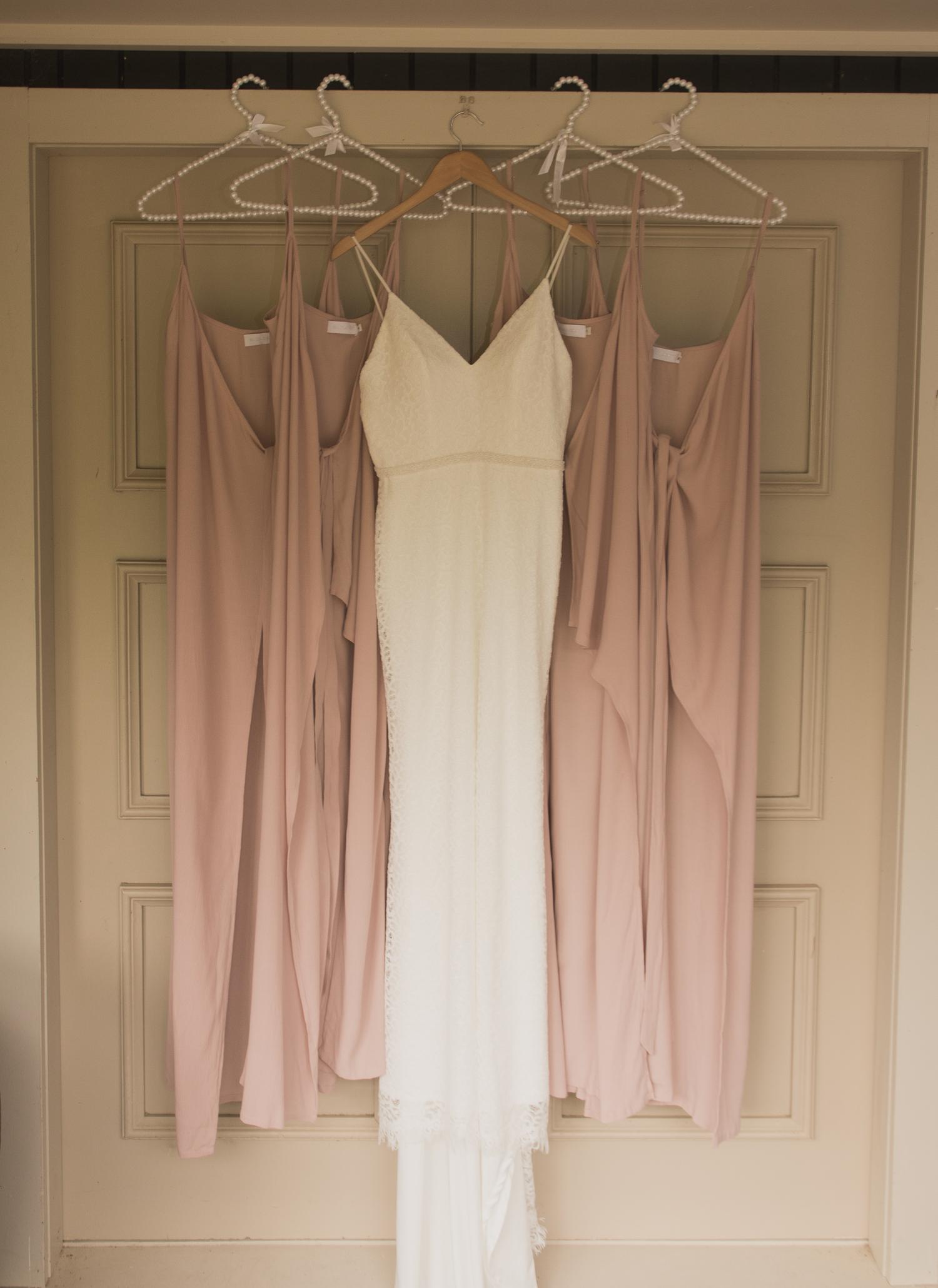 wedding dress with bridesmaid dresses